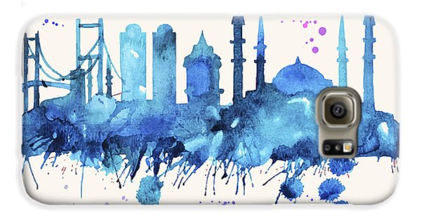 Istanbul Skyline Watercolor Poster - Cityscape Painting Artwork Galaxy S6 Case