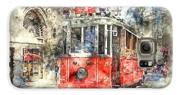 Istanbul Turkey Red Trolley Digital Watercolor On Photograph Galaxy S6 Case