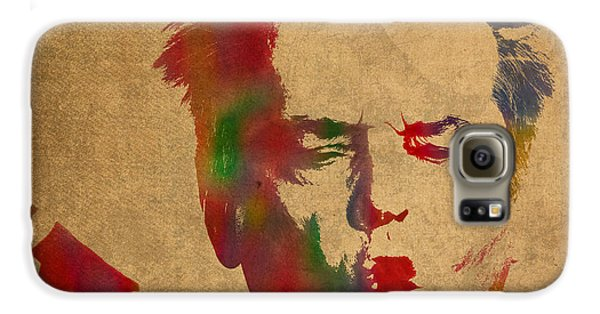 Jack Nicholson Smoking A Cigar Blowing Smoke Ring Watercolor Portrait On Old Canvas Galaxy S6 Case by Design Turnpike