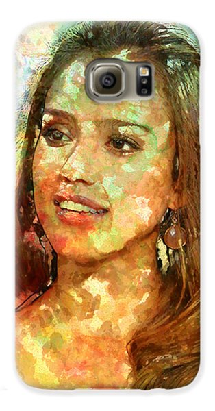 Jessica Alba Galaxy S6 Case by Elena Kosvincheva