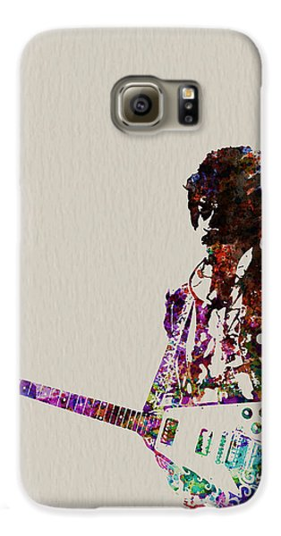 Rock And Roll Galaxy S6 Case - Jimmy Hendrix With Guitar by Naxart Studio