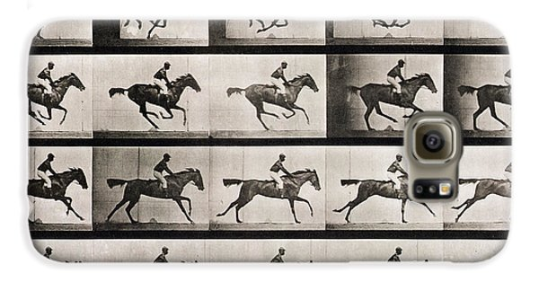 Horse Galaxy S6 Case - Jockey On A Galloping Horse by Eadweard Muybridge