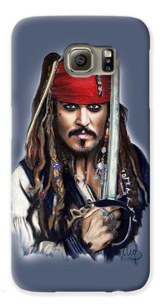 Johnny Depp As Jack Sparrow Galaxy S6 Case by Melanie D