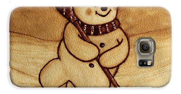 Galaxy S6 Case featuring the painting Joyful Snowman  Coffee Paintings by Georgeta  Blanaru