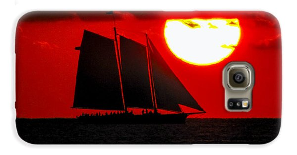 Key West Sunset Sail Silhouette Galaxy S6 Case