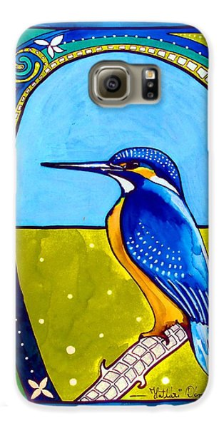 Galaxy S6 Case featuring the painting Kingfisher by Dora Hathazi Mendes