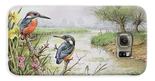 Kingfisher Galaxy S6 Case - Kingfishers On The Riverbank by Carl Donner