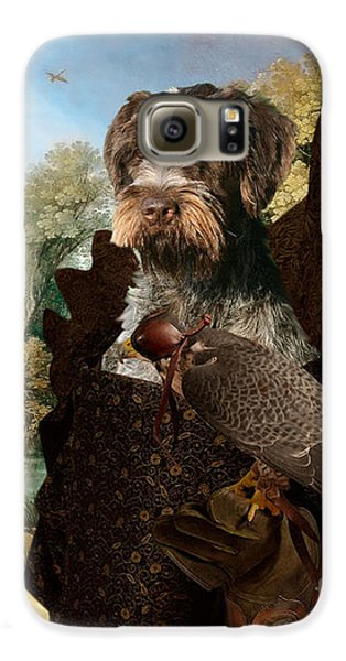 Korthals Pointing Griffon Art Canvas Print - The Hunters And Lady Falconer Galaxy S6 Case