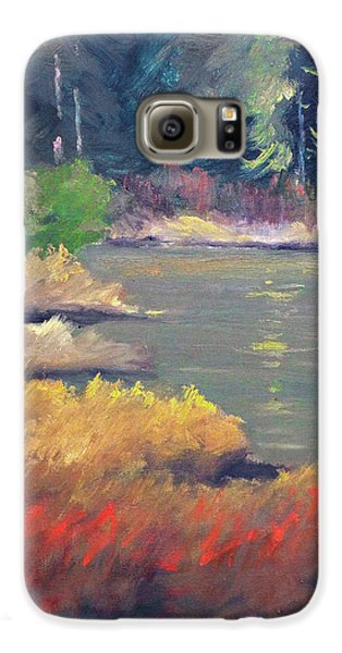 Galaxy S6 Case featuring the painting Lagoon by Nancy Merkle