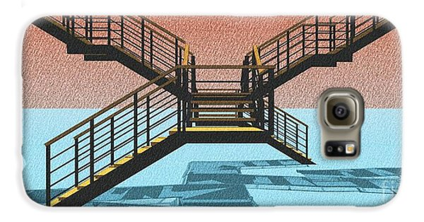 Large Stair 38 On Cyan And Strange Red Background Abstract Arhitecture Galaxy S6 Case by Pablo Franchi