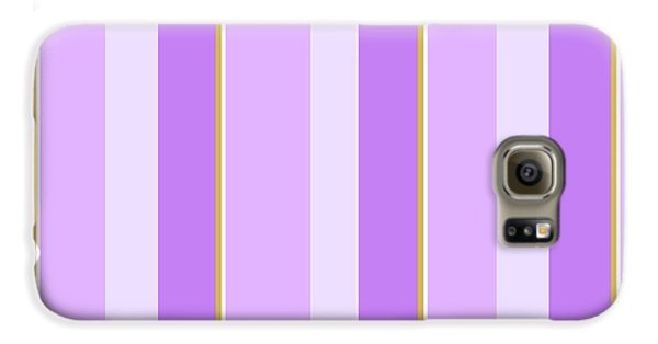 Galaxy S6 Case featuring the mixed media Lavender Stripe Pattern by Christina Rollo