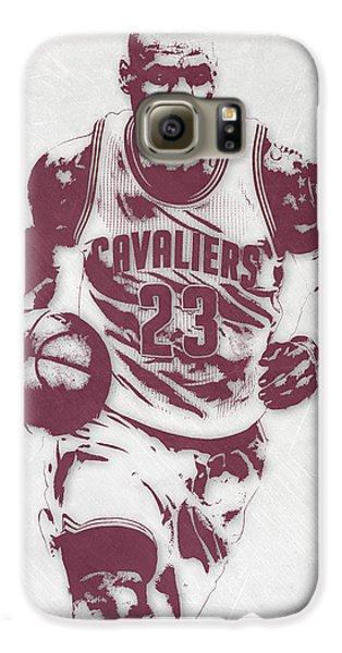 Lebron James Cleveland Cavaliers Pixel Art 4 Galaxy S6 Case by Joe Hamilton