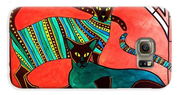 Galaxy S6 Case featuring the painting Legend Of The Siamese - Cat Art By Dora Hathazi Mendes by Dora Hathazi Mendes