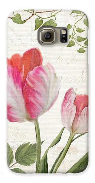 Les Magnifiques Fleurs I - Magnificent Garden Flowers Parrot Tulips N Indigo Bunting Songbird Galaxy S6 Case