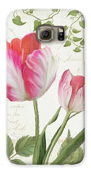 Les Magnifiques Fleurs IIi - Magnificent Garden Flowers Parrot Tulips N Indigo Bunting Songbird Galaxy S6 Case by Audrey Jeanne Roberts