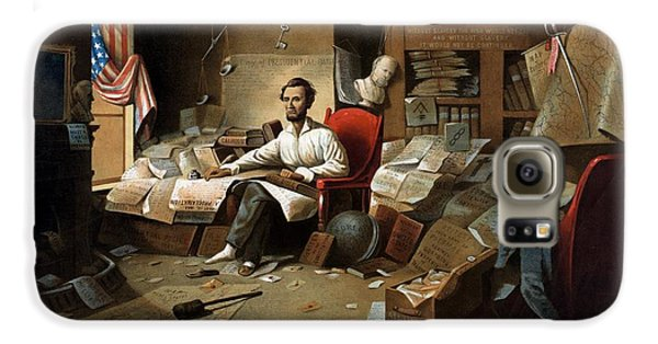 Lincoln Writing The Emancipation Proclamation Galaxy S6 Case by War Is Hell Store