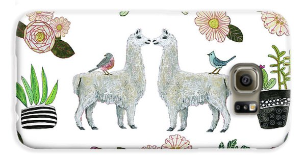 Llama Galaxy S6 Case - Llama And Luna Moth Pattern by Blenda Studio