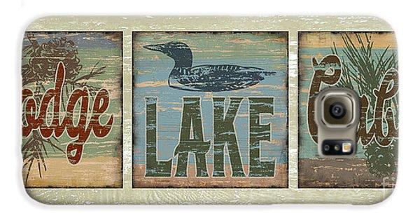 Lodge Lake Cabin Sign Galaxy S6 Case by Joe Low