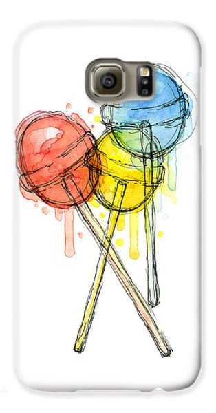 Lollipop Candy Watercolor Galaxy S6 Case by Olga Shvartsur