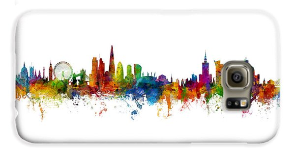 London Skyline Galaxy S6 Case - London And Warsaw Skylines Mashup by Michael Tompsett