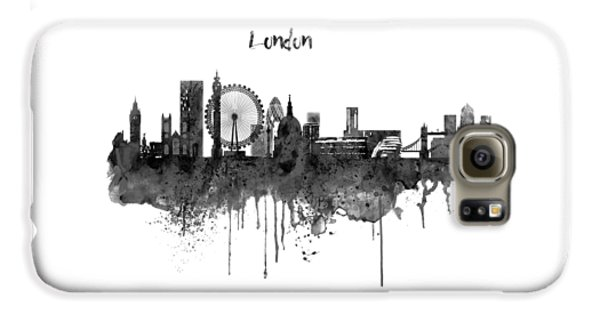 London Black And White Skyline Watercolor Galaxy S6 Case by Marian Voicu