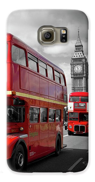 London Galaxy S6 Case - London Red Buses On Westminster Bridge by Melanie Viola