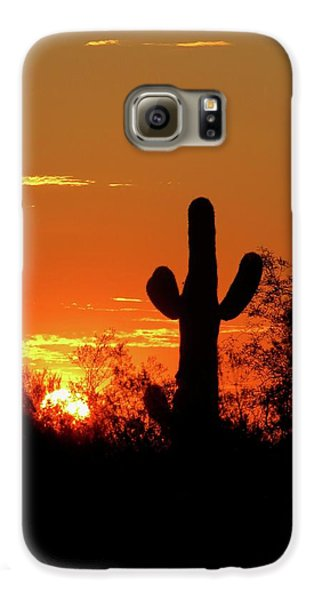 Lone Saguaro Sunrise Galaxy S6 Case
