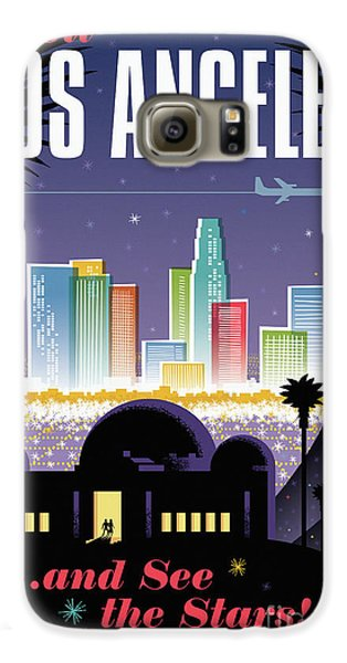 Los Angeles Retro Travel Poster Galaxy S6 Case by Jim Zahniser