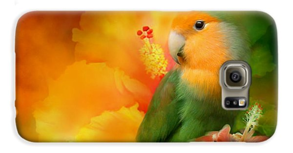 Lovebird Galaxy S6 Case - Love Among The Hibiscus by Carol Cavalaris