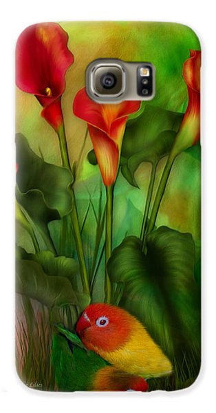 Lovebird Galaxy S6 Case - Love Among The Lilies  by Carol Cavalaris