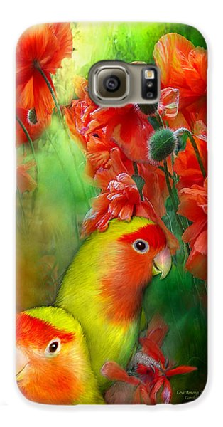 Lovebird Galaxy S6 Case - Love Among The Poppies by Carol Cavalaris