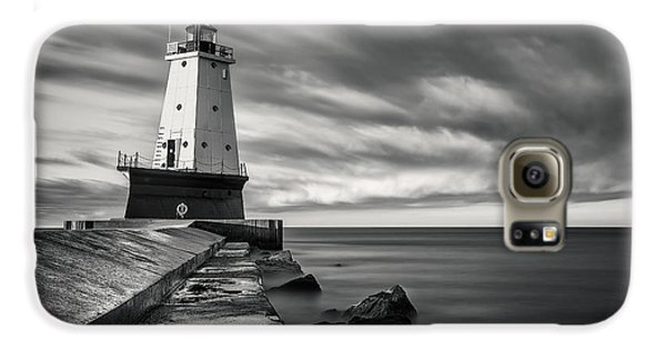 Galaxy S6 Case featuring the photograph Ludington Light Black And White by Adam Romanowicz
