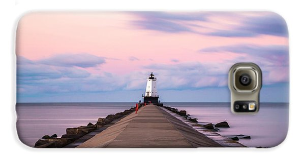 Galaxy S6 Case featuring the photograph Ludington North Breakwater Light Sunrise by Adam Romanowicz