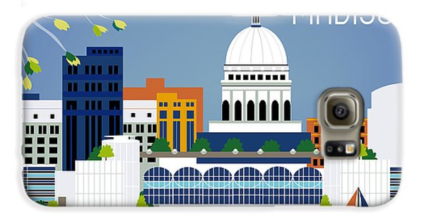 Madison Wisconsin Horizontal Skyline Galaxy S6 Case by Karen Young