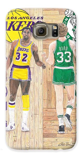 Magic Johnson And Larry Bird Galaxy S6 Case by Chris Brown
