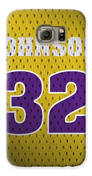 Magic Johnson Los Angeles Lakers Number 32 Retro Vintage Jersey Closeup Graphic Design Galaxy S6 Case