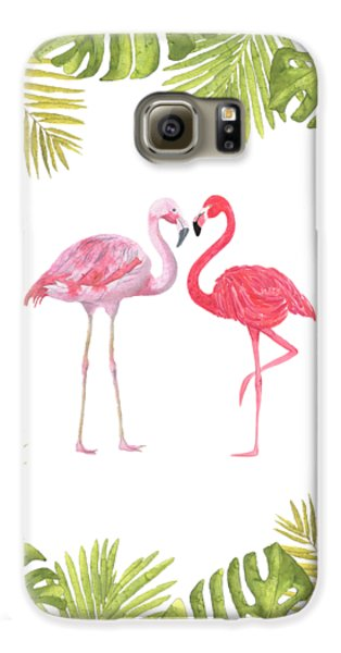 Galaxy S6 Case featuring the painting Magical Tropicana Love Flamingos And Leaves by Georgeta Blanaru