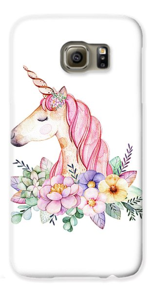 Extinct And Mythical Galaxy S6 Case - Magical Watercolor Unicorn by Lisa Spence