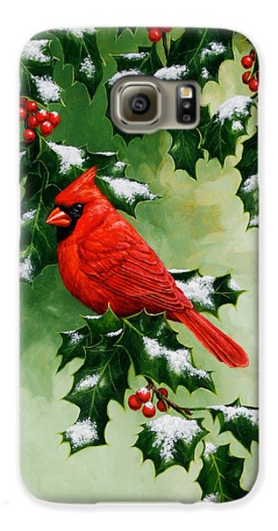 Male Cardinal And Holly Phone Case Galaxy S6 Case by Crista Forest