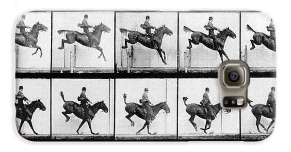 Horse Galaxy S6 Case - Man And Horse Jumping by Eadweard Muybridge