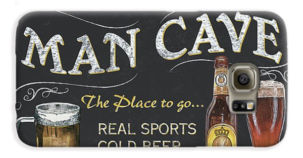 Man Cave Chalkboard Sign Galaxy S6 Case by Debbie DeWitt