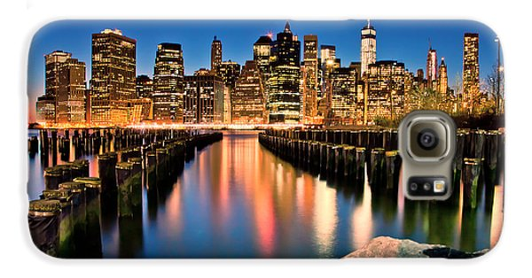 New York City Skyline Galaxy S6 Case - Manhattan Skyline At Dusk by Az Jackson