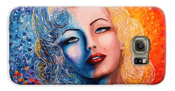 Galaxy S6 Case featuring the painting Marilyn Monroe Original Acrylic Palette Knife Painting by Georgeta Blanaru