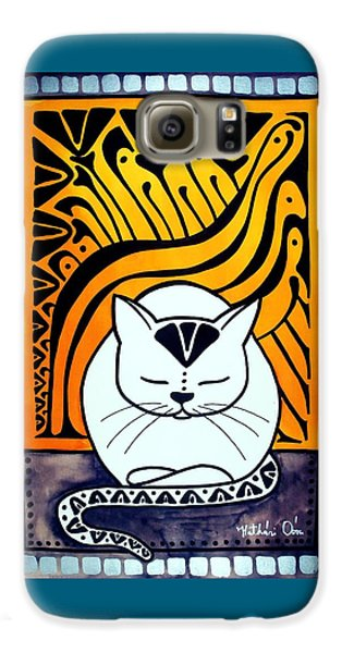 Galaxy S6 Case featuring the painting Meditation - Cat Art By Dora Hathazi Mendes by Dora Hathazi Mendes