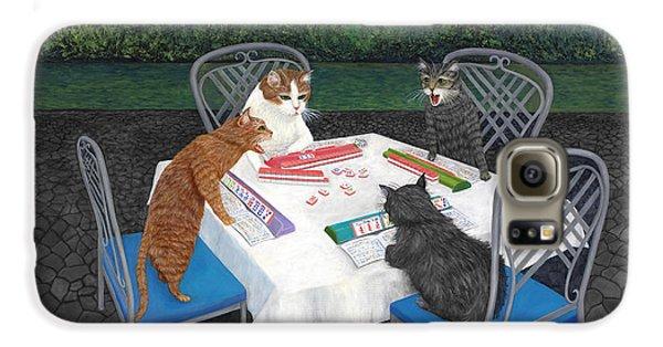 Dragon Galaxy S6 Case - Meowjongg - Cats Playing Mahjongg by Karen Zuk Rosenblatt
