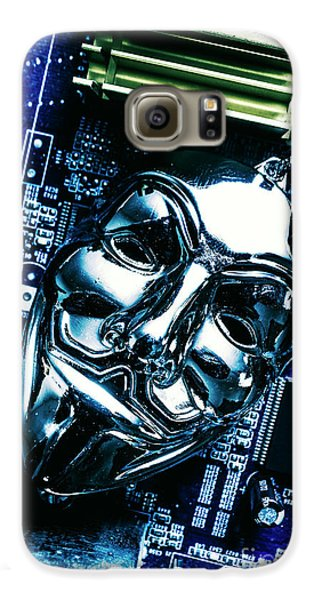 Metal Anonymous Mask On Motherboard Galaxy S6 Case by Jorgo Photography - Wall Art Gallery