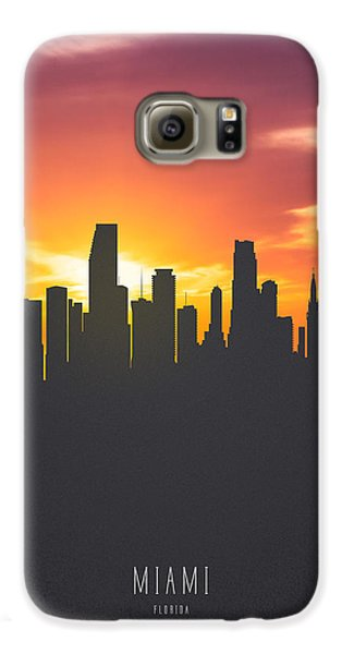 Miami Florida Sunset Skyline 01 Galaxy S6 Case by Aged Pixel