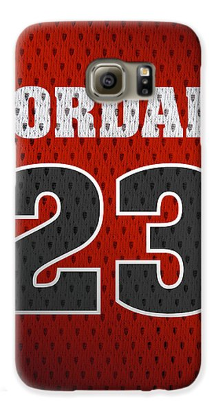 Michael Jordan Chicago Bulls Retro Vintage Jersey Closeup Graphic Design Galaxy S6 Case by Design Turnpike