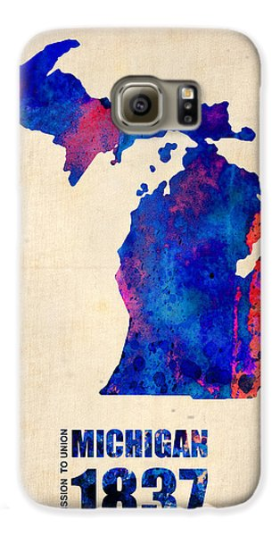 Michigan Watercolor Map Galaxy S6 Case by Naxart Studio