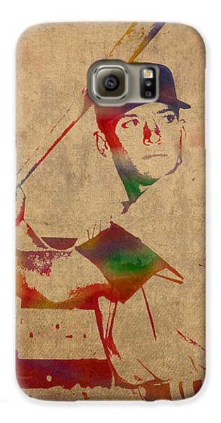 Mickey Mantle New York Yankees Baseball Player Watercolor Portrait On Distressed Worn Canvas Galaxy S6 Case by Design Turnpike